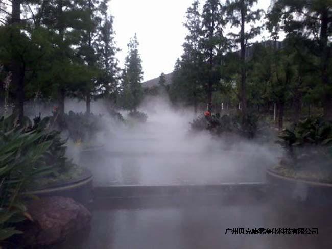 人工湖安裝人造霧景觀噴霧造景設備